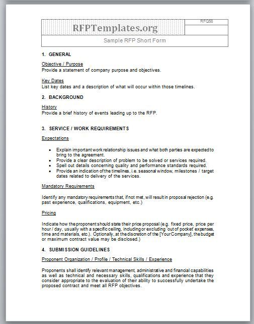 procurement document template short form rfp sample rfp templates rfp templates