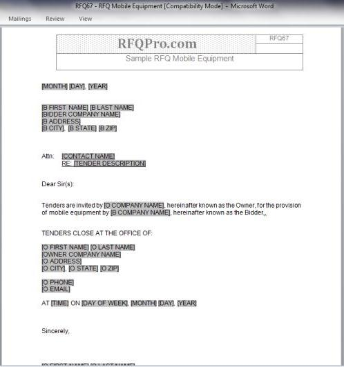 Rfq - Request For Quote Archives - Rfp Templates | Free Sample